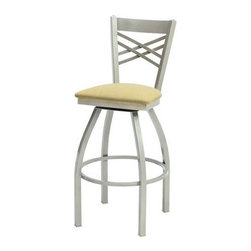 """Grand Rapids Chair - Melissa Anne Cross Back Swivel Barstool (24"""" - 36"""" Seats) (Set of 3) - A tremendous variety of back options lets you achieve a distinctive look for your Melissa Anne Cross Back Side Chair. Perfect for a cafe, restaurant, or office, this chair will look great wherever you decide to put it. Match it with a barstool for a complete set. All Grand Rapids chairs and barstools are highly customizable, so be sure to check out all the options listed. Please call if you dont see anything that meets your needs, because there's a good chance that Grand Rapids can make any product suit your preferences. Features: -Metal chairs are manufactured from high quality plating grade steel-significantly stronger than the industry standard. -Hand tailored, coped and brazed joints to maximize strength and prevent rust. -Oven-baked epoxy/polyester finish. -Two inches of HR (High Resilience) foam, considered the Cadillac of cushioning. -Made in the USA. -Constructed for commercial/restaurant usage. -Premium carpet glides. -Seat Height  If you need a specific height that is not listed be sure to call. -Upholstery  Grand Rapids carries many fabric options, if you do not see anything to your liking or have your own fabric, please call and one of our customer service representatives will assist you with your order. -CAL 133  If you need any of Grand Rapids chairs to meet California bulletin 133 please call. -CAL 117 Standard. Dimensions: -Seat height: 30"""". -Seat: 18"""" H x 17"""" W x 19"""" D. -Overall: 44.5"""" H x 22"""" W x 21.5"""" D, 46 lbs."""
