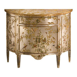 "Inviting Home - Hand-Painted Demilune Cabinet - Hand-painted demilune cabinet with floral and bird design on an antiqued silverleaf background two doors one drawer and antiqued brass hardware 40""W x 16""D x 32-1/4""H Hand-crafted demilune cabinet. Demilune cabinet is hand-painted with floral and bird design on an antiqued silver-leaf background. Hand painted cabinet has two doors one drawer and antiqued brass hardware."