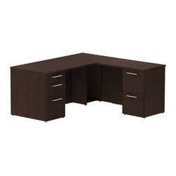 "Bush - Bush 300 Series 66"" L-Shape 2-Pedestal Desk Set in Mocha Cherry - Bush - Commercial Grade Office - 300S026MR - Transitional, classic styling fits ideally in any residential, commercial or office environment with the Bush Mocha Cherry 300 Series 66""W X 30""D Single Pedestal L Desk (B/B/F) with 36""W Return (F/F). Slightly smaller top surface and return still offer plenty of workspace. Two box drawers and one file drawer in the pedestal store files or office supplies. The 36"" Return features two file drawers on fully extendable drawer slides for easy access to back. All file drawers accommodate letter- legal or A4-size files. Wire grommets control unsightly cords and cables, keeping desk and return surfaces clutter-free. Return complements the desk and offers additional storage at your fingertips. Rich, Mocha Cherry finish fits beautifully in executive spaces. Tough, rugged work surfaces resist scratching, stains, dings and dents, looking good for years. Includes BBF Limited Lifetime warranty."
