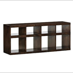 """Olivia Bench, Tuscan Chestnut stain, Set of 3 - Create easily organized storage for the entryway or family room with our Olivia Cubby. Use one as a bench or stack up to three, and add the Olivia Baskets to hold smaller necessities (sold separately). 53"""" wide x 14"""" deep x 22.5"""" high Crafted with pine solids and veneers. Each features 4 small and 4 large open cabinets. Finished in Tuscan Chestnut or Weathered Blue. Fitted with metal label holders. Use alone as a bench top for seating or stack up to 3 units, which attach together with the included hardware. Use with our Olivia Bench Cushion (sold separately). Use with our Havana Utility Basket (sold separately). View our {{link path='pages/popups/fb-media.html' class='popup' width='480' height='300'}}Furniture Brochure{{/link}}."""