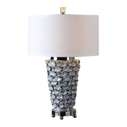 Uttermost Petalo Pearl Gray Table Lamp - Delicate ceramic petals finished in a light pearl gray accented with polished nickel details. Delicate ceramic petals finished in a light pearl gray accented with polished nickel details. The round hardback drum shade is a white linen fabric.