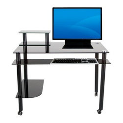Madison Black Glass Computer / Writing Desk with Casters - Ever wonder