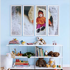 large photo of kid cut up in frames