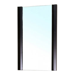 """Bellaterra Home - Rectangular Solid Wood Black Frame Mirror - Simple  mirror with solid wood frame. Frame Dimensions: 19.7""""W X 31.5""""H X 2""""D; Finish: Black; Material: Birch ; Beveled: No; Shape: Rectangular; Weight: 14.4; Included: Brackets, Ready to Hang"""