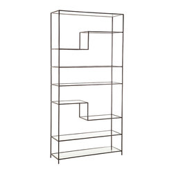 Worchester Natural Iron/Glass Bookshelf - The traditional natural iron finish of the Worchester Bookshelf is a narrow border around the lofty geometry of deep transparent glass shelves, so that the deep and rustic metal color gives a handsome border to your precious volumes or favorite pieces of artwork. Toward one side of the rectangular bookshelf, two of the shelves make sharp turns toward the top and bottom, opening the design out for asymmetrical interest and a fitting frame for your possessions.