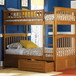 Atlantic Furniture - Columbia Twin Over Twin Bunk Bed w Raised Pan - NOTE: ivgStores DOES NOT offer assembly on loft beds or bunk beds. Includes upper and lower panels, rails, clip-on ladder, 2 slats and raised panel drawers. Mattress not included. Solid hardwood Mortise & Tenon construction. 26-Steel reinforcement points. Made of premium, eco-friendly hardwood with a 5-step finishing process. Designed for durability. Guard rails match panel design. Meet or exceed all ASTM bunk bed standards, which require the upper bunk to support 400 lbs.. Pictured in Caramel Latte finish. 1-Year manufacturer's warranty. Clearance from floor without trundle or storage drawers: 11.25 in.. 74 in. L x 22 in. W x 12 in. H. Raised panel drawers: 74 in. L x 24.38 in. W x 12 in. H. Bunk Bed Warning. Please read before purchaseThe Columbia bunk bed features a classic Mission style design with subtle curves and solid post construction.