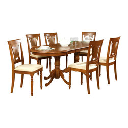 Wooden Imports Furniture - Plainville Butterfly Leaf Table Set, Saddle - Includes butterfly leaf table and 6 cushioned chairs. Extends up to 78 in. L. 100% Solid Parawood. Environmentally conscious.