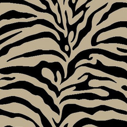 Ottomanson - Black, Light Beige Animal Print Zebra Design Rug - Royal Collection offers a wide variety of machine made modern and oriental design area rugs with durable, stain-resistant pile in trendy colors.