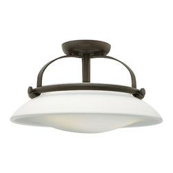 Hinkley Lighting - Hinkley Lighting 3321OZ Hinkley Lighting 3321BN Brushed Nickel 3 Light Indoor Se - Hinkley Lighting 3321 Hutton Semi Flush Mount Light Hutton adds flair to the traditional semi-flush mount with its uniquely shaped opal glass shade, re