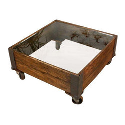 Glass Top Industrial Coffee Table - $695 Est. Retail - $595 on Chairish.com -