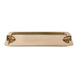 Arteriors - Arteriors Bordeaux Tray - An antique brass version of our very popular polished nickel Bordeaux tray. The heavy ring handles highlight the sloped banded edges.  • Available in Small or Large • Primary Material: Brass • Finish: Antique Brass