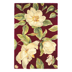"""Catalina 0760 Red Magnolia Rug - Catalina 0760 Red Magnolia 2'6"""" x 8' Runner. Hand-Tufted of 100% Wool with Cotton Backing. Made in China. Vacuum regularly & spot clean stains. Professional cleaning recommended periodically."""