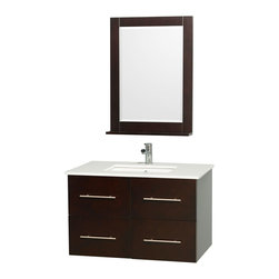 Wyndham - Centra Vanity 36in. in Espresso w/ White Stone Top & Square sink - Simplicity and elegance combine in the perfect lines of the Centra vanity by the Wyndham Collection. If cutting-edge contemporary design is your style then the Centra vanity is for you - modern, chic and built to last a lifetime. Available with green glass, white carrera marble or pure white man-made stone counters, and featuring soft close door hinges and drawer glides, you'll never hear a noisy door again! The Centra comes with porcelain, marble or granite sinks and matching mirrors. Meticulously finished with brushed chrome hardware, the attention to detail on this beautiful vanity is second to none.