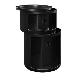 Modway Furniture - Modway Orbit Storage Module in Black - Storage Module in Black belongs to Orbit Collection by Modway Now you see it, now you don��_��_��_��_��_��_t. In a perfect blend of visual effects and sliding hatches, Orbit shows you why decor shouldn��_��_��_��_��_��_t end with the storage unit. Whether for office supplies or or jewelry, the compact cylindrical design imparts a sense of futurism to your room. Made of resilient ABS plastic, complete your modern home or office with a contemporary piece that livens up even the most basic of utilities. Set Includes: One - Orbit Trash Bin Storage Module (1)