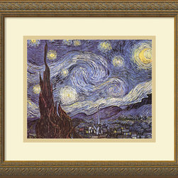 "Amanti Art - ""The Starry Night"" Framed Print by Vincent van Gogh - You don't have to travel to New York to enjoy Van Gogh's iconic masterpiece. This custom-framed, gallery-quality reproduction features the same dazzling image of Saint-Remy de Provence and the Alpilles from afar."