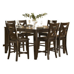 "Homelegance - Homelegance Crown Point 5 Piece Counter Height Dining Room Set - Adorn your dining area with Crown Point Collection. This grand scale casual dining in warm merlot finish is as strong and durable as they are stunning. Table top is constructed of mango veneer with strong support tapered legs. Attractive ""X"" back dining c"