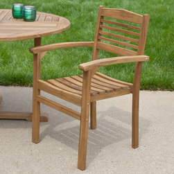 Teak Stacking Chair - Featuring an innovative design, this teak wood chair is easy to stack and store. Purchase several to create an entire set for your backyard patio or deck. Made of teak wood that can be left unfinished or can be stained, if desired.