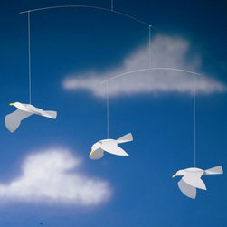 Flensted Soaring Seagulls Mobile - Flensted mobiles were designed in the '50s and still have a minimalist charm which is in demand today. These seagulls look as if they're soaring right above the crib.