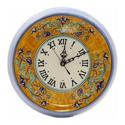 Artistica - Hand Made in Italy - Deruta: Round Wall Clock Vario - Deruta Classic: