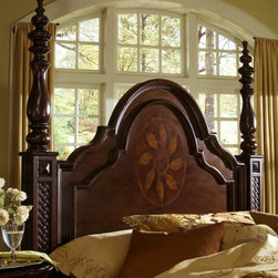 """Progressive Furniture - Marlestone Poster Headboard - Marlestone revels in the artistry of the inlay design and displays such beautiful detail evident in European style. The cherry veneers allow the hand-applied finish to enhance the marquetry work and create the sophisticated style. Intricate turnings and lattice carvings indicate the creativity in the design work. Features: -Marlestone collection. Dimensions: -Queen: 78"""" H x 66"""" W x 6"""" D, 90.3 lbs. -King: 77"""" H x 82"""" W x 6"""" D, 104.6 lbs."""