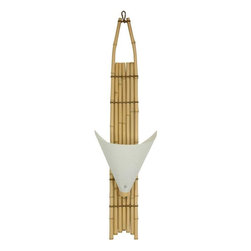 """Oriental Furniture - 39"""" Baku Japanese Bamboo Wall Sconce - Light - Wall sconces add warmth and beauty to a room, and are becoming increasingly popular in modern American interior design and decor. Crafted from kiln dried bamboo pole. These sconces are designed to hang on a hook on the wall, and plug right into a wall socket, no electrician necessary. These are unique, interesting, and exotic wall sconces, with rustic, tropical design elements. The cone shaped lamp shades are attractive, and stick out from the wall somewhat farther than most. These lanterns are intended to attract some attention, with their distinctive shape, design, and size. Note: a professional electrician can remove the power cord and plug and wire these sconces directly into a junction box."""