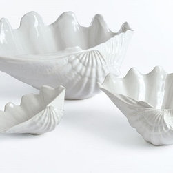 Beachside Clam Shell Bowl- Small, Medium, & Large - Porcelain Clam Shell Bowl in small is perfect for a nuts and condiments.
