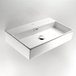 WS Bath Collections - Quarelo 16 in. Bathroom Sink in Ceramic White - Faucet Hole: With Faucet HoleCountertop or Wall-mount Installation. With Overflow. Ceramic White. Made by Lineabeta of Italy. Product Material: Ceramic. Finish/Color: Ceramic White. Dimensions: 14.2 in. W x 16.5 in. L x 5.1 in. H