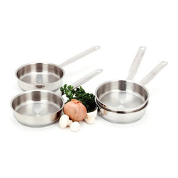 Demeyere - Demeyere Resto Mini Saute Pan - 4 pc. Set - 82012 - Shop for Sauce and Saute Pans from Hayneedle.com! Right-sized for small batch sauces the Demeyere Resto Mini Saute Pan - 4-Piece Set is perfect for the saucy cook. This set includes four mini saute pans - one for each burner! Each pan has a stay-cool handle and is crafted of 18/10 stainless steel with a 4mm thick 3-layer base to quickly and evenly conduct heat. All are oven-safe work on all cooktops including induction and are dishwasher-safe.About Demeyere CookwareFounded in 1908 Demeyere is a family-owned company based in Belgium. The brand has earned a devoted following for its high-quality stainless steel cookware which features the latest culinary innovations. Used by professional chefs and home cooks worldwide Demeyere cookware combines performance durability sleek design and technological innovation. In the late 1960s the company pioneered the use of layered aluminum construction for exceptional heat conduction. Other innovations include InductoSeal 7-PlyMaterial and TriplInduc technologies. The InductoSeal base features seven different alloys including a copper disk for maximum heat distribution. Demeyere's patented 7-PlyMaterial consists of a thick aluminum-alloy core sandwiched between a layer of pure aluminum on either side for even heat distribution. TriplInduc combines three metal alloys to make the cookware suitable for all types of cooking methods including induction. Pans and pots feature ergonomic welded handles rims designed for dripless pouring and durable stick-resistant finishes. They're suitable for use on any cooktop and are dishwasher-safe for easy cleanup.