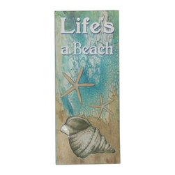 Handcrafted Nautical Decor - Wooden Lifes A Beach Starfish Sign 19'' - Our   Wooden Life's A Beach Starfish Sign 19'' is the perfect choice to display   your affinity for decorating a beach house. Whether placing this sign in a beach house, using it as a coastal decorating idea, or hanging it up as part of   your beach bedroom decor, one thing is for   certain: you are sure to inject the beach lifestyle into your humble   abode.------    Easily mountable to hang outside or inside--    Solid wood--    Handcrafted and highly detailed--