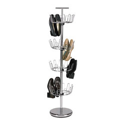 Revolving 4 Tier Shoe Tree - 2134 - Shop for Closet from Hayneedle.com! The Revolving 4 Tier Shoe Tree is a great storage solution for your footwear. Constructed of durable commercial-grade steel in your choice of powder-coated finishes this unit spins to allow full access without taking up much space; it features four adjustable wire racks best suited to womens' shoes or small mens' shoes. The weighted bottom prevents toppling and the handle makes it easy to transport wherever you need it. This tree holds up to 24 pairs of shoes. Some assembly is required.