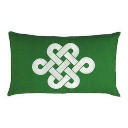 """NECTARmodern - Fortune Knot (green) chinoserie embroidered throw pillow 20"""" x 12"""" - Add a touch of chinoiserie to your home with our lucky knot pillow in a modern colorway. Green with white embroidery. Solid green back. Also available in Brown and teal colorways. Designer quality cover with overstuffed feather/down insert."""
