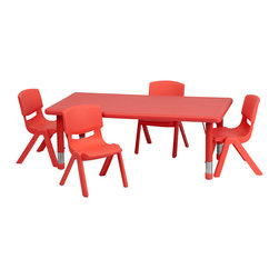 Flash Furniture - Flash Furniture 24 x 48 Adjustable Rectangular Red Plastic Activity Table Set - This table set is excellent for early childhood development. Primary colors make learning and play time exciting when several colors are arranged in the classroom. The durable table features a plastic top  with steel welding underneath along with Height adjustable legs. The chair has been properly designed to fit young children to develop proper sitting habits that will last a lifetime. [YU-YCX-0013-2-RECT-TBL-RED-R-GG]