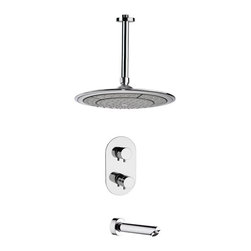Remer - Modern Thermostatic Chrome Tub and Shower Faucet Set - Thermostatic diverter.
