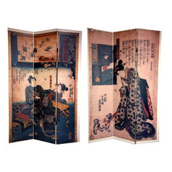 Oriental Furniture - 6 ft. Tall Double Sided Japanese Figures Room Divider - A pair of traditional Japanese images adorn the panels of this exquisite screen. One side depicts a couple viewing the blossoming plum trees of early spring. Above them is a scroll with an excerpt from The Tale of Genji, penned by Murasaki Shikibu in the early eleventh century. On the other side is an image of a noblewoman in an opulent kimono, attending to her puppy. Bring the refined beauty of classical Japanese style into your living room, bedroom, dining room, kitchen or place of business with this breathtaking room divider. This three panel screen has different images on each side, as shown.
