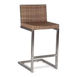 Thos. Baker - palms bar stool - The palms bar stool features rich, coffee-colored Viro� all-weather wicker woven over 304-grade stainless legs.