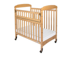 """Foundations - Foundations Baby Bedding Furniture Serenity Compact Safereach Cribs- Clearview - There are reasons why Serenity cribs are the most widely used cribs in U.S. child care facilities. Serenity offers an unprecedented amount of features to select from. Color coordinated finishes are matched with hardware and casters for added beauty. Five-year warranty on crib with lifetime warranty on steel frame, casters, and hardware. Mattress board adjusts to two heights. Easy assembly includes all necessary tools. Warranty: 5 year limited warranty on crib with lifetime warranty on steel frame, casters, and hardware. Assembly: Easy assembly includes all necessary tools. Mortise and tenon construction headboard provides added strength. Mattress board adjust to two heights. Nonmarking, ultra quiet commercial casters (two locking). Lower profile allows easier accessibility to infant. SafeSupport solid steel frame provides unprecedented strength. Includes Professional Series ultra durable, antimicrobial 3"""" mattress. Mattress not included."""