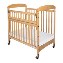 "Foundations - Foundations Baby Bedding Furniture Serenity Compact Safereach Cribs- Clearview - There are reasons why Serenity cribs are the most widely used cribs in U.S. child care facilities. Serenity offers an unprecedented amount of features to select from. Color coordinated finishes are matched with hardware and casters for added beauty. Five-year warranty on crib with lifetime warranty on steel frame, casters, and hardware. Mattress board adjusts to two heights. Easy assembly includes all necessary tools. Warranty: 5 year limited warranty on crib with lifetime warranty on steel frame, casters, and hardware. Assembly: Easy assembly includes all necessary tools. Mortise and tenon construction headboard provides added strength. Mattress board adjust to two heights. Nonmarking, ultra quiet commercial casters (two locking). Lower profile allows easier accessibility to infant. SafeSupport solid steel frame provides unprecedented strength. Includes Professional Series ultra durable, antimicrobial 3"" mattress. Mattress not included."