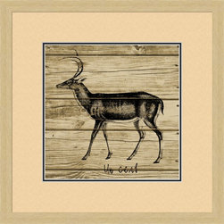 Deer On Planks Artwork - World-class Giclee print Printed on archival quality paper guaranteed not to fade for 200 years! Hand-assembled wood frame Manufactured in the USA