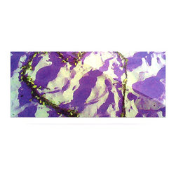 "Kess InHouse - Anne LaBrie ""Purple Tiger Love"" Purple Yellow Metal Luxe Panel (9"" x 21"") - Our luxe KESS InHouse art panels are the perfect addition to your super fab living room, dining room, bedroom or bathroom. Heck, we have customers that have them in their sunrooms. These items are the art equivalent to flat screens. They offer a bright splash of color in a sleek and elegant way. They are available in square and rectangle sizes. Comes with a shadow mount for an even sleeker finish. By infusing the dyes of the artwork directly onto specially coated metal panels, the artwork is extremely durable and will showcase the exceptional detail. Use them together to make large art installations or showcase them individually. Our KESS InHouse Art Panels will jump off your walls. We can't wait to see what our interior design savvy clients will come up with next."