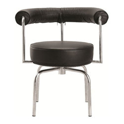 Fine Mod Imports - LC7 Contemporary Swivel Armchair - Tubular steel frame. Warranty: One year. Made from leather. Black color. No assembly required. Seat height: 20 in.. Overall: 23 in. W x 24 in. D x 28 in. H (50 lbs.)Enjoy this chair in your dining room, lounge or even in your office.