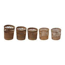 "Rattan cup holders - We have here five victorian rattan styled cup holders in different sizes. All are in good shape with minor wear from age. The sizes range from 3 1/2 "" H, 8 1/2"" diameter, 2 3/4"" H, 8 1/2"" diameter, 2 1/2"" H, 8 1/2 diameter."