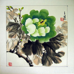Green Peony Painting - The showhouse room has some wonderful Chinese art. I love this painting of a green peony to play back to our colors.