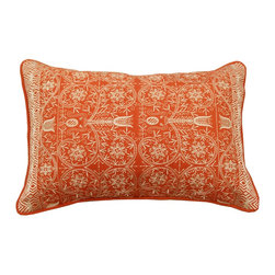 DD - Orange Pushkar Throw Pillow - A gorgeous heavily embroidered toss in vibrant colors of orange and linen
