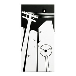 Progetti - CucuCity 1850 Black/White Wall Clock - Cuckoo clock made in wood. Battery quartz movement. The Cuckoo strike is switched off automatically during the night controlled by a light sensor.