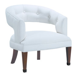 Sterling Industries - Sterling Industries 6071090 New Hudson Chair - Traditional Library Chairs Take On A Whole New And Updated Look When Upholstered In White Faux Leather.  The Nicely Tufted Back Is Done In Traditional Touches, But The Soft Tone Of The Faux Leather, Makes The Chair A Great Choice For A Transitional Decor  Accent Chair (1)