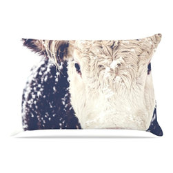 """Kess InHouse - Debbra Obertanec """"Snowy Cow"""" Black White Pillow Case, Standard, 30""""x20"""" - This pillowcase, is just as bunny soft as the Kess InHouse duvet. It's made of microfiber velvety fleece. This machine washable fleece pillow case is the perfect accent to any duvet. Be your Bed's Curator."""