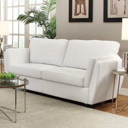 Coaster - Lois Sofa, White - Perfect for small spaces and contemporary homes, our Lois collection offers a slanted double arm sofa that's not only stylish, but provides great lumbar support with its slanted back. With a comfortable higher arm rest, fiber filled back cushions and a wood frame, this collection is sure to bring comfort and style to your living room. Pair this contemporary sofa collection with a round glass top occasional set (#702335).