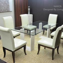 "NAXOS 79""x39""x29"" TRAVERTINE MARBLE GLASS DINING TABLE - Reference: DT101+DT101GLASS"