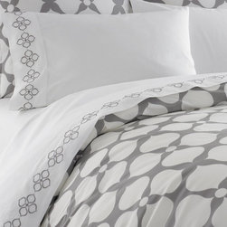 Jonathan Adler - Jonathan Adler Hollywood Duvet Cover Light Grey - Hollywood collection features 400 thread count, 100% cotton percale in Jonathan Adler's signature patterns. Patterned duvets are complemented by coordinating sheets and shams. Chic and classique—very you!