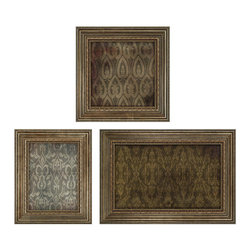 Paragon Decor - Luxor Set of 3 Artwork - Exclusive Mixed Media - Aged Glass.  Sizes: 23h x 23w, 25h x 20w, 23h x 33w